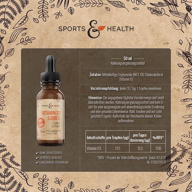 Vitamin D3 50ml - 5.000 IE Inhalte