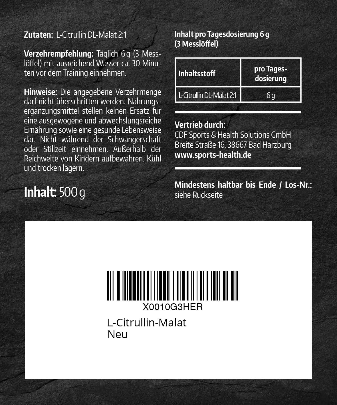 L-Citrullin Malat Etikett